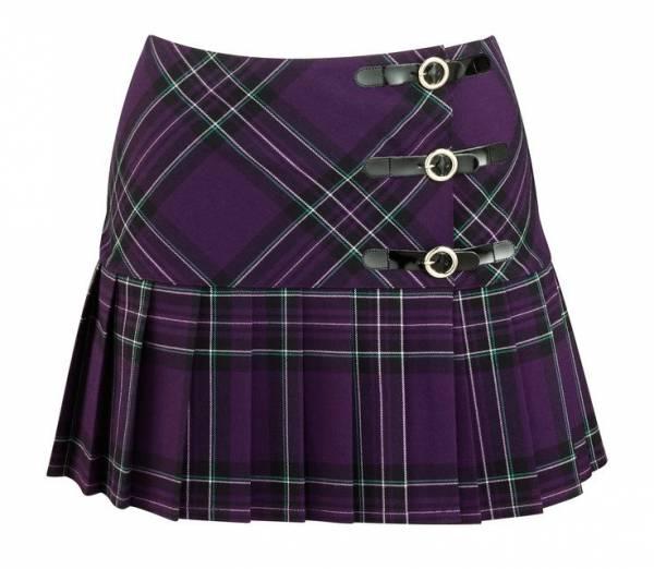 Le donne a Pieghe Avvolgere Sopra Gonna stampa tartan donna con bottoni Kilt gonna scozzese